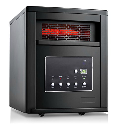 Giantex 1500w Pro 4 Element Infrared Quartz Heater Large Room w/ Remote Control Black Infrared Heaters