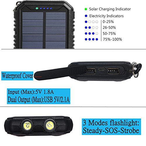 Solar Charger 12000mAh WBPINE Portable Solar Power Bank Shockproof/Dustproof/Waterproof Dual USB 2 LED Flashlights Cellphone More by WBPINE (Image #2)