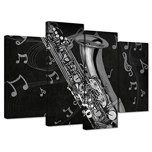 - Hello Artwork 4 Panel Music Canvas Wall Art Saxophone Musical Instruments with Music Notes Black and White Contemporary Artwork Musician Gifts Stretched and Framed for Home Living Room Decoration
