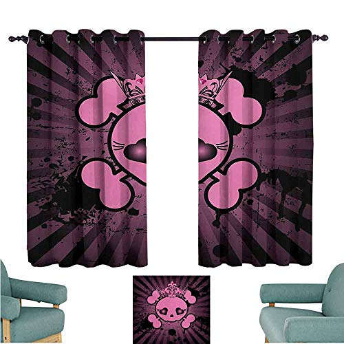 DONEECKL Novel Curtains Skull Cute Skull Illustration with Crown Dark Grunge Style Teen Spooky Halloween Print Blackout Draperies for Bedroom Living Room W55 xL63 Pink Black]()