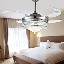 RS Lighting Unique Crystal Ceiling Fan and Light with Remote Control 36W LED 3 Changing Color Fan Chandelier Simple Style for Restaurant Living Room Bedroom-Chrome