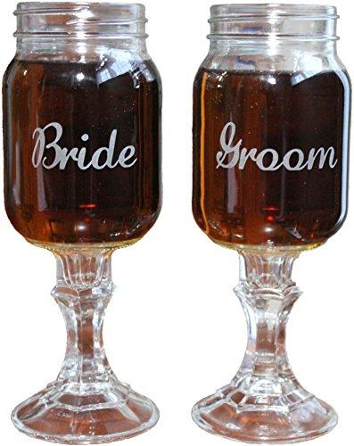 2-Piece Engraved Mason Jar Redneck Wine Glass Set for Bride and Groom