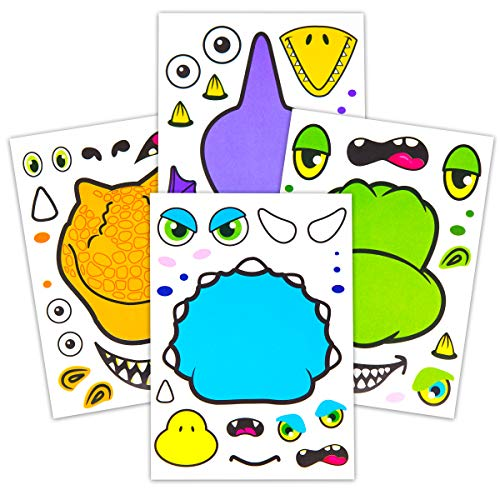 24 Make A Dinosaur Stickers For Kids - Great Dino Theme Birthday Party Favors - Fun Craft Project For Children 3+ - Let Your Kids Get Creative & Design Their Favorite Dinosaur Sticker (Dinosaur With Horn On Back Of Head)