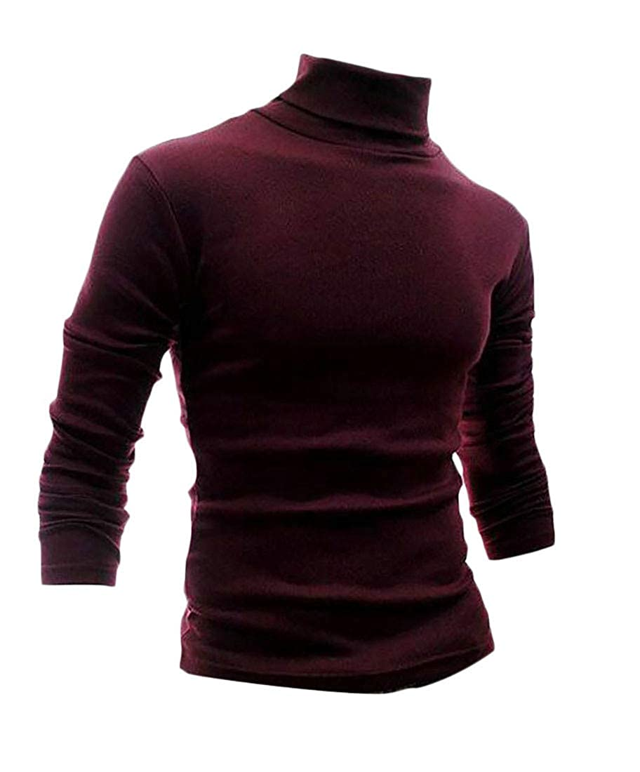 Sweatwater Mens Turtle Neck Long Sleeve Solid Pullover Knitted Sweater Jumper