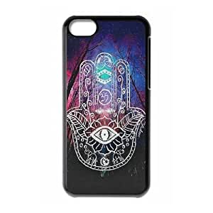 Customized Hard Back Case Cover for iPhone 5C with Unique Design Colorful Hamsa Hand