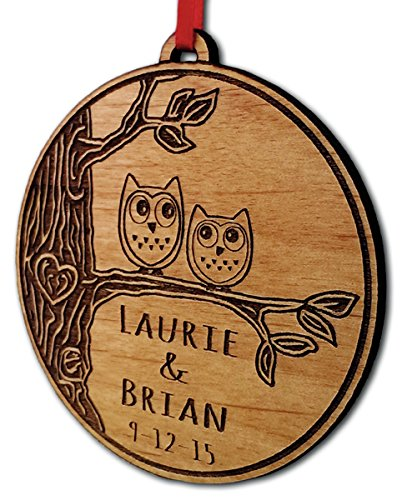 Newlywed Christmas Ornament Owl Love Birds Personalized Heart Tree ()