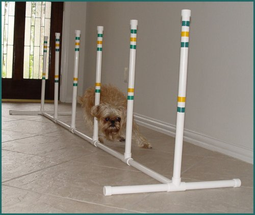 6 Weave Poles w/base for Small Dog - Agility Equipment (Dog Equipment Agility Used)