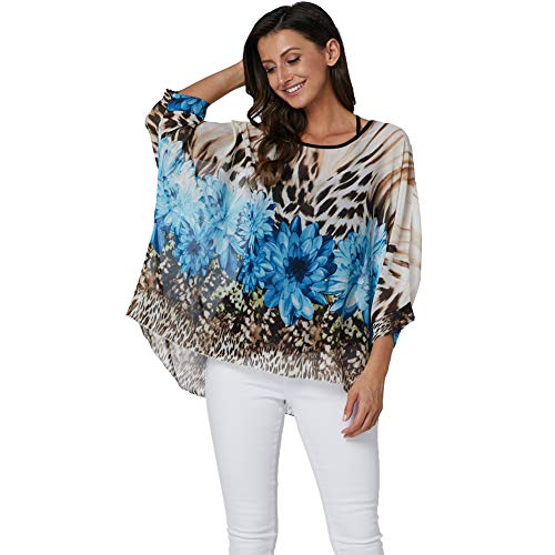 Wiwish Women Summer Floral Printed Batwing Sleeve Top Chiffon Poncho Casual Loose Shirt Beach Blouse Tunic Tops (Leopard Daisy)