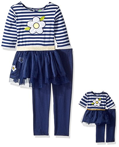 Dollie & Me Little Girls' Flower Tutu Legging Set with Matching Doll Outfit, Navy/White, 4 -