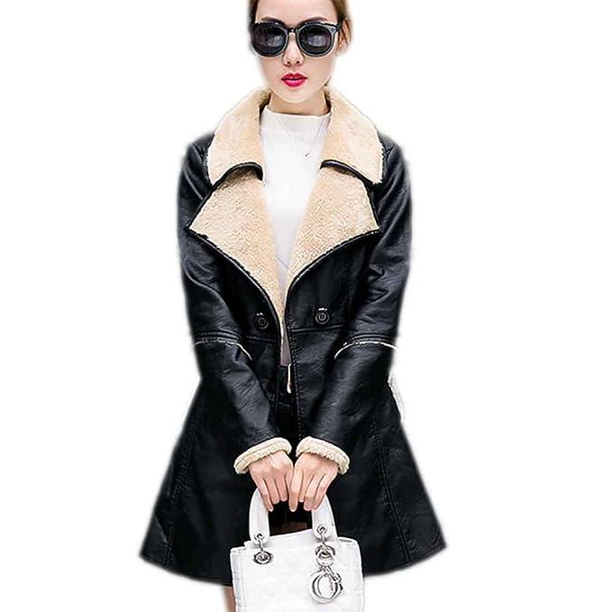 Abrigo de cuero de chaqueta de invierno de mujer Espesar abrigo de cuero de oveja de piel de abrigo medio, Black, XXL: Amazon.es: Ropa y accesorios