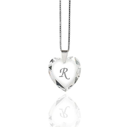 """Kinderkette 925 Silber mit SWAROVSKI ELEMENTS Herz Crystal Buchstabe"""" R """""""