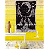 Indian Wall Hanging, Crying Wolf Tapestry, Moon Wall Art, Bohemian Bedding Twin, Hippie Dorm Room Decor, Boho Throw Blanket