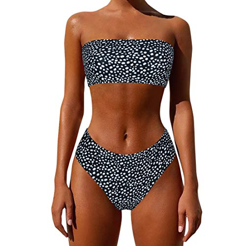 MOSHENGQI Women's Bandeau Bikini Swimsuit High Waisted Swimwear 2 Pcs Bathing Suit High Cut(L(US Size 6-8),Black-4)