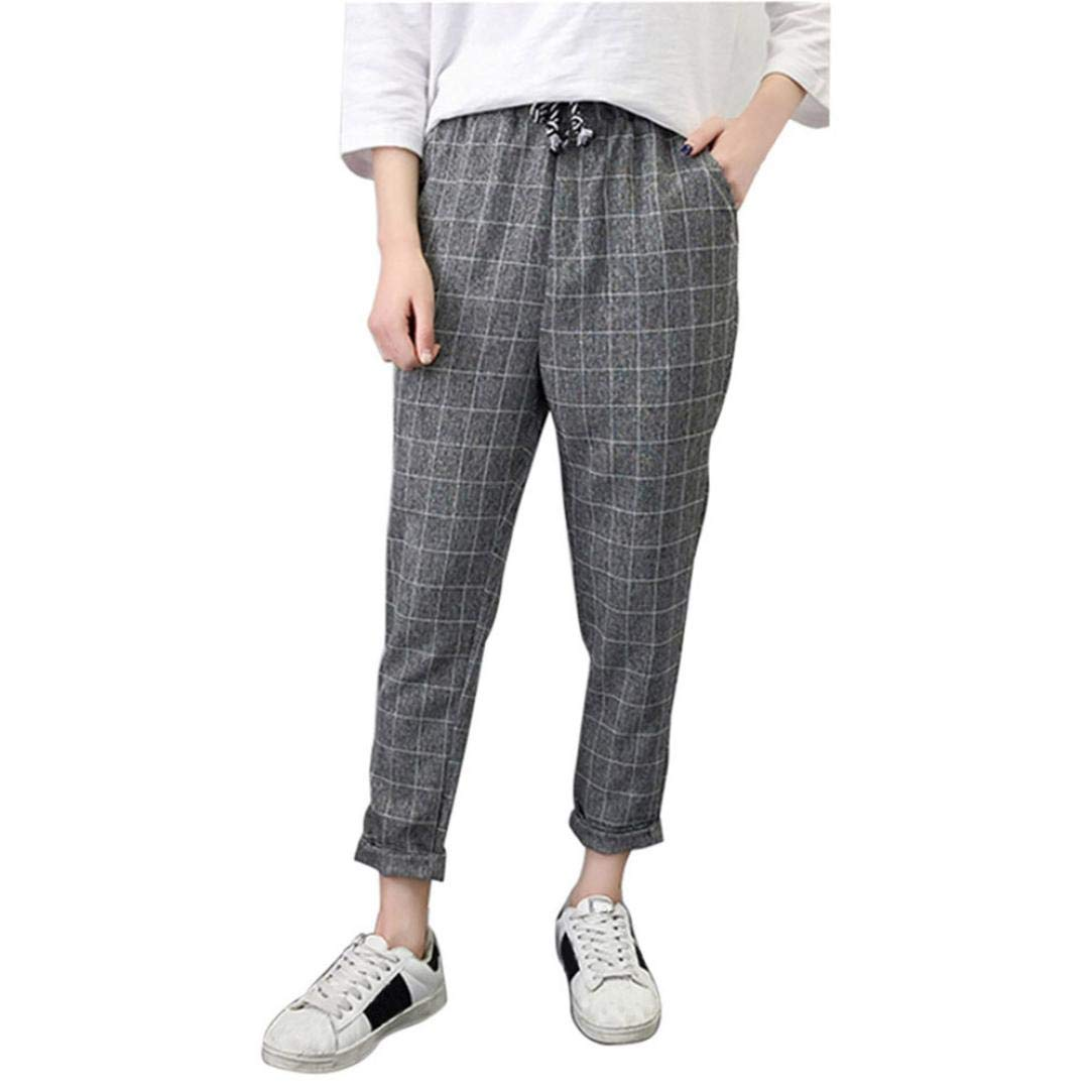 Fashion Women Casual Plaid Elastic Waist Lace Up Loose Plus Size Full Length Pants Gym Daily Autumn Trousers