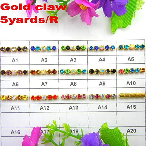 Pukido High Density 5 Yards/Roll Gold Claw AB Colors Mix ss6 2mm SS8 2.5mm SS10 2.8mm SS12 3mm Sew On Glue on Rhinestone Cup Chain Trim - (Color: A11 Lt Topaz Citrine, Size: SS6 2mm 5yards)