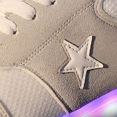 (Present:small towel)JUNGLEST LI & HI colorful star LED Light USB Charging adult pairs of shoes autumn and winter sports shoes casual shoes luminous current U Grey KCMxiN0EU