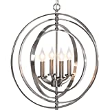 Cheap Best Choice Products 18″ 4-Light Sphere Pendant Chandelier Lighting Fixture (Brushed Nickel)