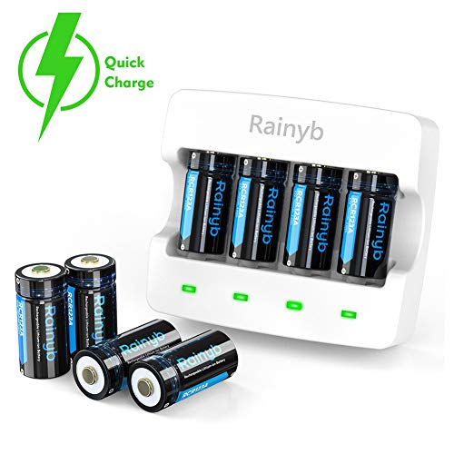 RCR123A Batteries Rechargeable and RCR123A Charger, Rainyb 8Pcs 3.7V 700mAh Li-ion Battery with 4 Slot Batteries Charger for Arlo VMC3030/3230/3330/3430/3530 Security Cameras