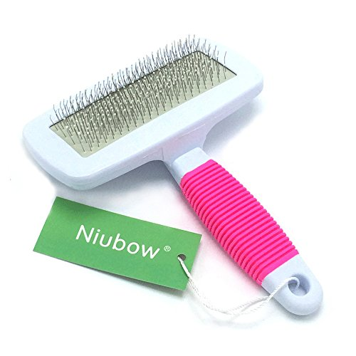 Niubow Professional Quality Pet Slicker Brush with Coated Pin Tips for Dogs & Cats - Gently Removes Mats & Loose Dead Hair Easily (Large, Pink)