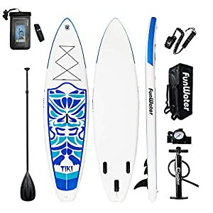FunWater Inflatable 10'6×33″×6″ Ultra-Light (17.6lbs) SUP for All Skill Levels Everything Included with Stand Up Paddle Board, Adj Paddle, Pump, ISUP Travel Backpack, Leash, Repair Kit, Waterproof Bag