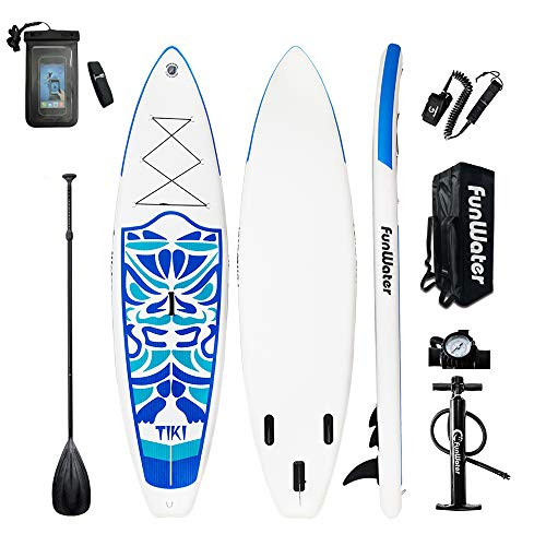 FunWater Inflatable 106×33×6 Ultra-Light (17.6lbs) SUP for All Skill Levels Everything Included with Stand Up Paddle Board, Adj Paddle, Pump, ISUP Travel Backpack, Leash, Repair Kit, Waterproof B
