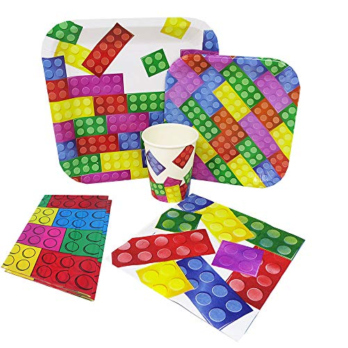 Brick Party Deluxe Party Packs (70 Pieces for 16 Guests!), Block Birthday Tableware Sets -