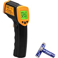 Digital Laser Infrared Thermometer Temperature Gun Non-Contact -26℉~ 716℉(-32℃ ~ 380℃) Pyrometer for Meat/Refrigerator/Pool/Oven/Barbecue Hand Tool for Indoor/Outdoor Including AAA Battery