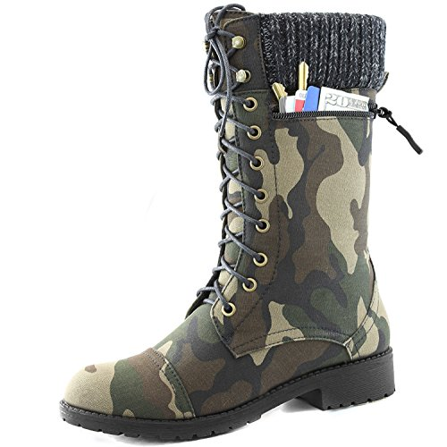 Womens DailyShoes Combat Quilted Military product image