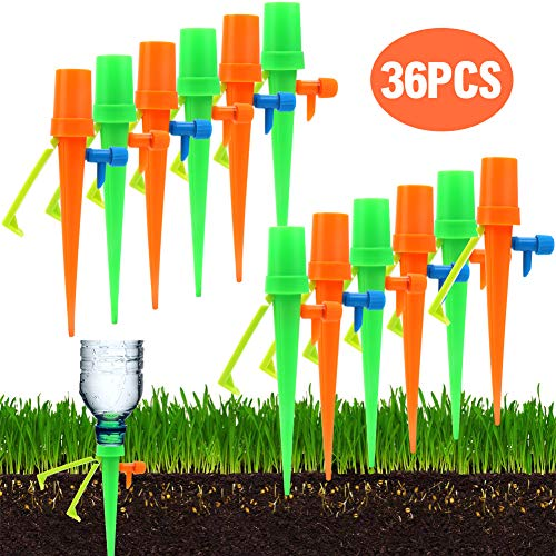 - PiscatorZone Plant Self Watering Spikes Vacation Automatic Plant Warerer Drip Irrigation Slow Release Device,Plant Waterer with Anti-Tilt Anti-Down Bracket,Care Your Plants and Flowers (36 PCS)
