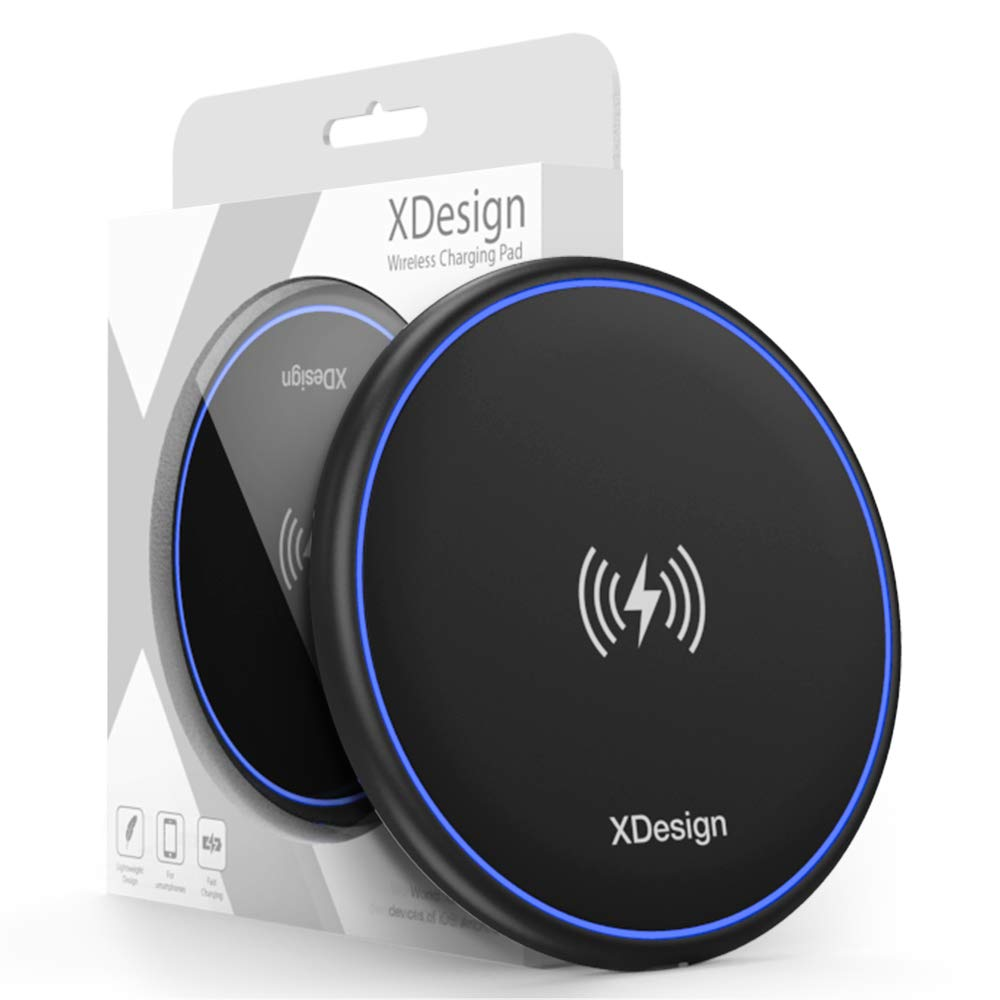 XDesign 10W Wireless Charger Compatible iPhone XS MAX, iPhone XS, iPhone XR, iPhone X, iPhone 8 8 Plus/ Galaxy S9 S8 S8+/Galaxy S7 Edge/Note 9 8, Qi-Certified Station Anti-Slip Base [No AC Adapter] XD000075