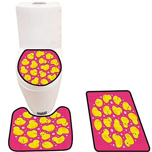3 Piece Bathroom Contour Rugs Fun Baby Duckies Circle ArtsyKids Toys Bubbles Hot Pink Animal Anti-Slip Water Absorption