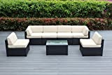 Ohana 7-Piece Outdoor Wicker Patio Furniture Sectional Conversation Set with Weather Resistant Cushions, (Beige) Review