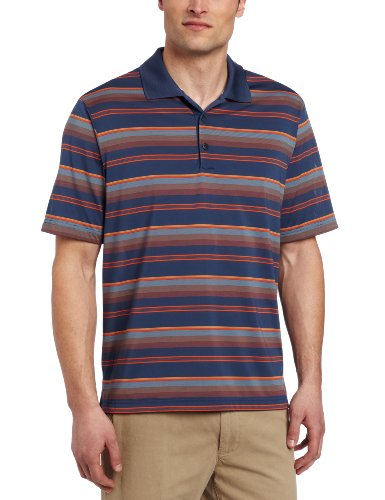 adidas Golf Men's Climacool Merchandising Stripe Polo Shirt, Nautical/Lobster, Medium