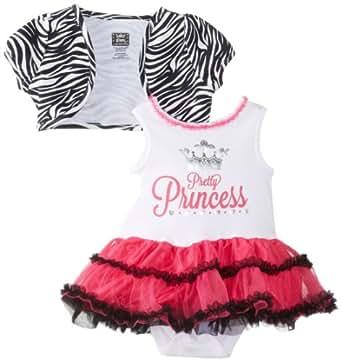 Baby Glam Baby-Girls Newborn 2 Piece Dress Set with Shrug, Fuchsia Purple, 0-3 Months