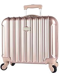 "Light Metallic Design 17"" Rolling Briefcase with TSA Lock, Rose Gold Color Option"