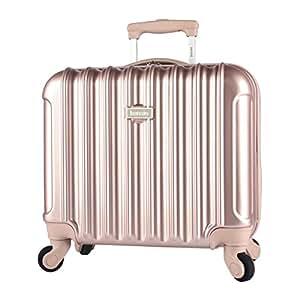 "kensie Light Metallic Design 17"" Rolling Briefcase with TSA Lock, Rose Gold Color Option"