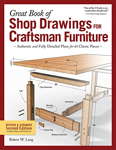 Woodworking Building Plans - Great Book of Shop Drawings for Craftsman Furniture, Revised & Expanded Second Edition: Authentic and Fully Detailed Plans for 61 Classic Pieces (Fox Chapel Publishing) Complete Full-Perspective Views