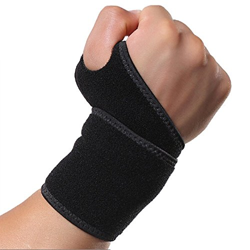 Aegend Breathable Adjustable Sports Neoprene Hand Wrist Support One Size, Black