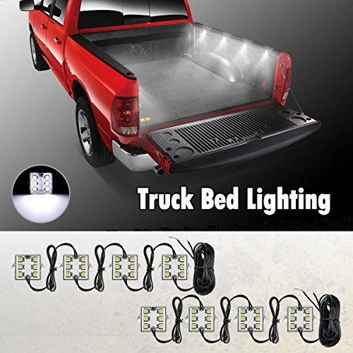 Partsam Universal Waterproof White LED Truck Bed/Rear Work Box Lighting Kit Trunk Light for 1994-2010 Dodge Ram 1500 2000 3500 - 78 Ford Courier Truck