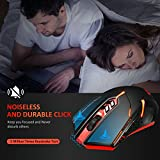 VicTsing Wireless Gaming Mouse with Unique Silent Click, Breathing Backlit, 2 Programmable Side Buttons, 2400 DPI, Ergonomic Grips, 7-Button Design- Red