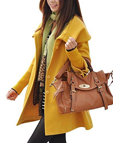 MELANSAY Womens Princess Wool Winter Coat with Detachable Knit Sleeves