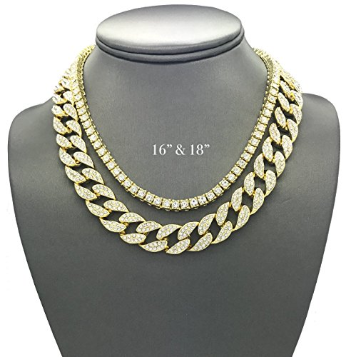 Hip Hop Diamond Necklaces - Shiny Jewelers USA Mens Iced Out Hip Hop Gold tone CZ Miami Cuban Link Chain Choker Necklace (1 Row CZ & CZ Cuban 16