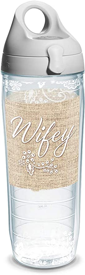 Tervis Wifey Wrap Water Bottle With Grey Water Bath Lid 24 Oz Clear Tumblers Water Glasses