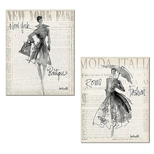 Gango Home Décor Trendy Newspaper-Style New York and Rome Fashionista Set by Anne Tavoletti; Two 11x14in Paper Posters