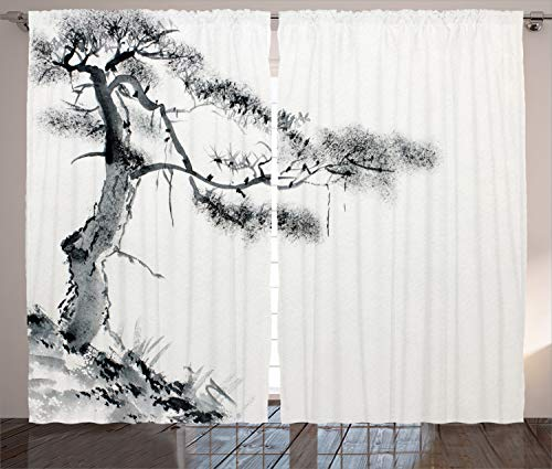 Ambesonne Asian Decor Collection, Lone Pine on Mountain Slope Art in Traditional Chinese Painting Style Oriental Culture , Living Room Bedroom Curtain 2 Panels Set, 108 X 84 Inches, Grey White