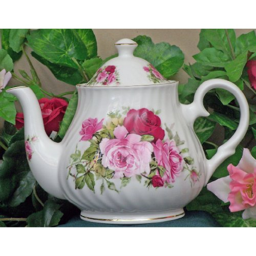 English Tea Store Summertime Rose Fine Bone China 6 Cup Teapot
