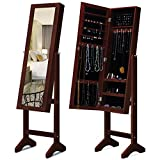 KING BIRD 2019 New Jewelry Organizer Standing Lockable Jewelry Armoire Storage Holder Box Mounted Jewelry Cabinet with Full Length Mirror Huge Space 3 Different Angle Adjustable