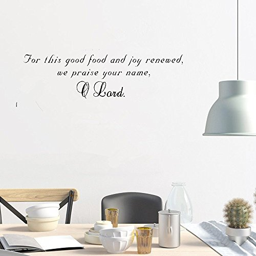 bliute Mural Saying Wall Decal Sticker Art Mural Home Decor Quote for This Good Food and Joy renewed we Praise Your Name]()