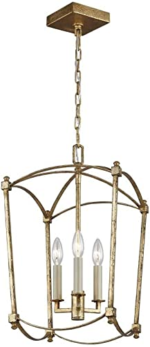 Feiss F3321 3ADB Thayer Lantern Candle Chandelier, 3-Light 180 Watts 20 H x 12 W , Antique Guild