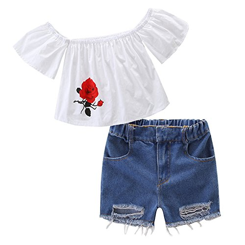KIDSA 1-7T Toddler Baby Little Girls Summer Outfits Sets Off Shoulder Rose Print T-shirt Tops + Ripped Jeans Tore up (Fancy Organic Cotton Tee)